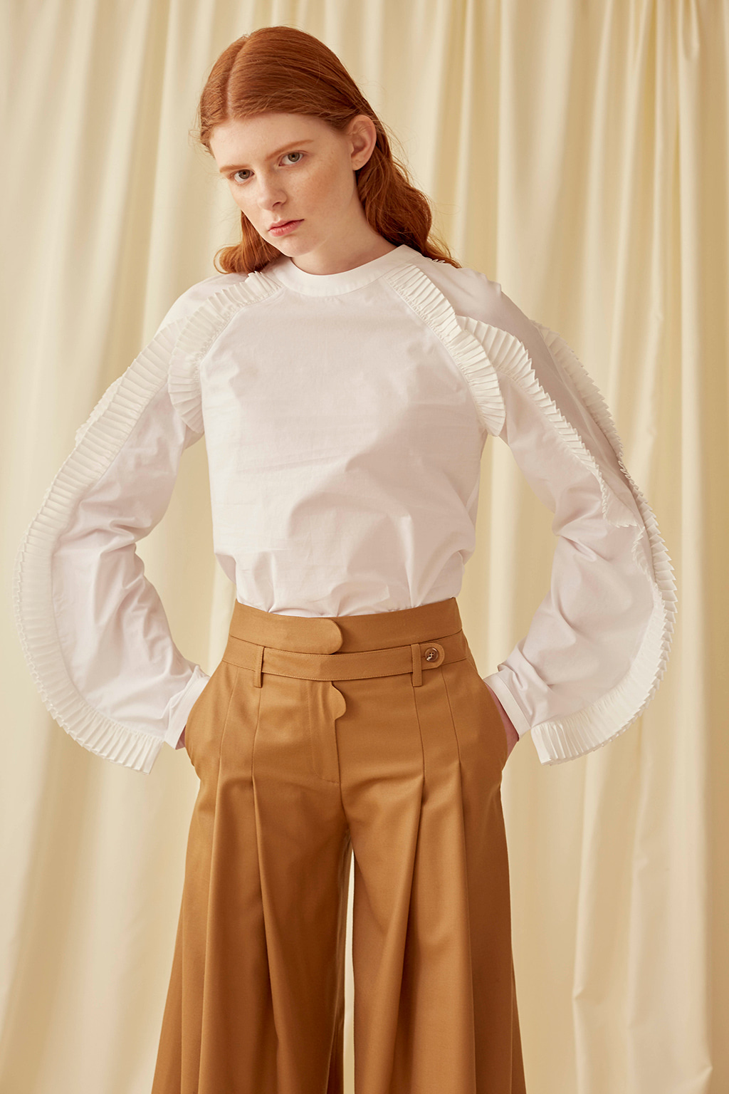 White Pleated Armhole and Sleeve Blouse