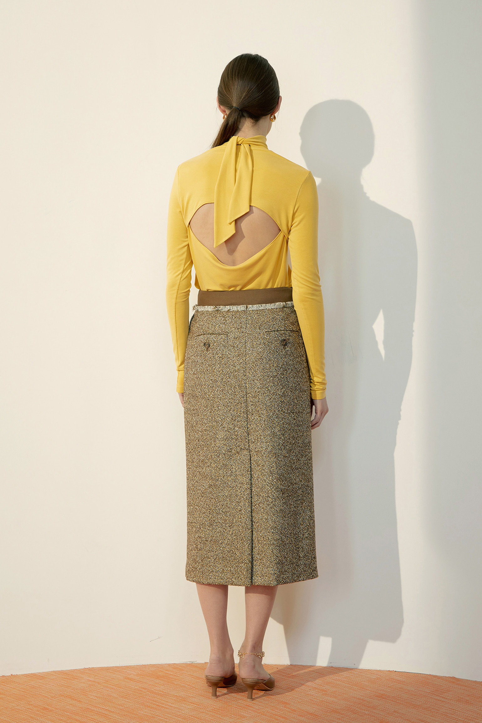 Yellow Back Tie-Neck Jersey Top